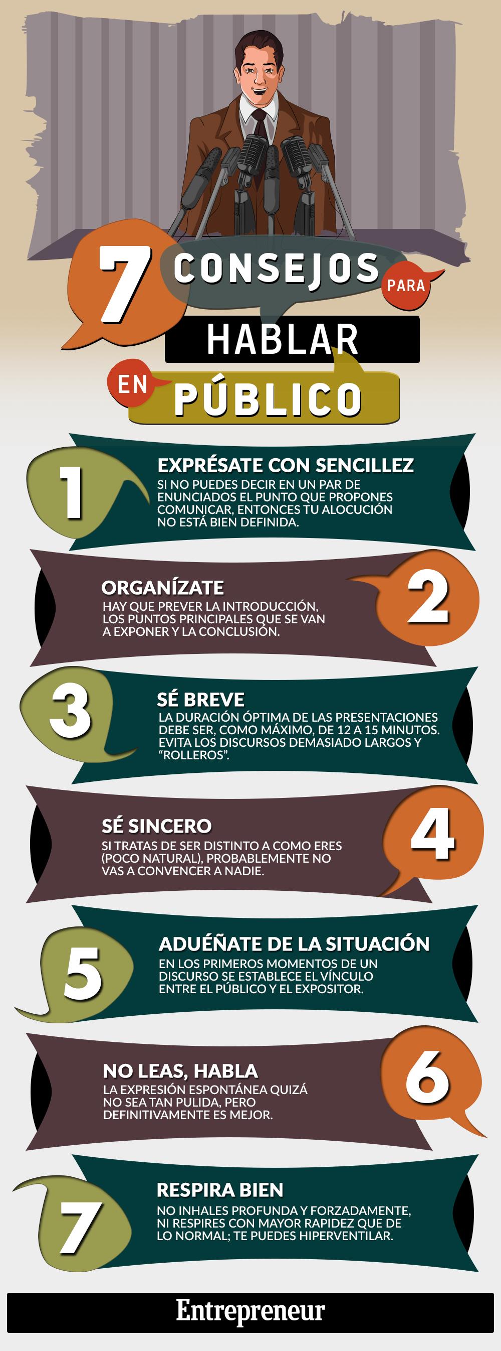 7 Consejos para hablar en Público- Infografía
